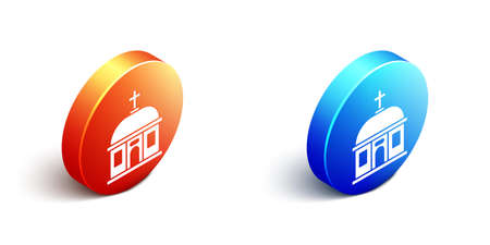 Isometric Santorini building icon isolated on white background. Traditional Greek white houses with blue roofs European culture. Orange and blue circle button. Vector