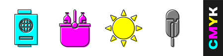 Set Passport with ticket, Cooler bag and water, Sun and Ice cream icon. Vector