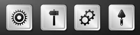 Set Circular saw blade, Hammer, Gear and Trowel icon. Silver square button. Vector