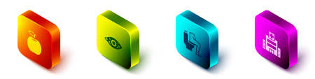 Set Isometric Apple, Reddish eye, Constipation and Medical hospital building icon. Vector Vector Illustratie
