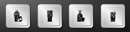 Set Cocktail shaker, Glass of beer, Alcohol drink Rum and Bloody Mary icon. Silver square button. Vector