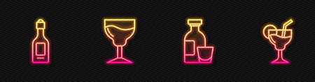 Set line Alcohol drink Rum, Champagne bottle, Wine glass and Cocktail. Glowing neon icon. Vector