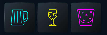 Set line Wooden beer mug, Glass of rum and champagne. Black square button. Vector