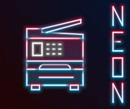 Glowing neon line Printer icon isolated on black background. Colorful outline concept. Vector Illustration