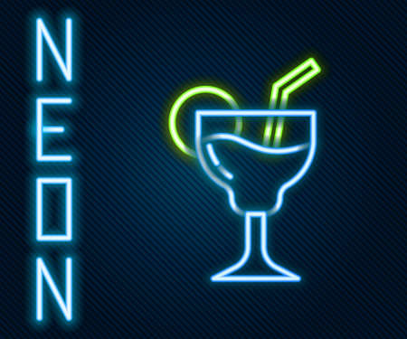 Glowing neon line Cocktail and alcohol drink icon isolated on black background. Colorful outline concept. Vector