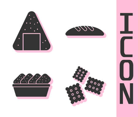 Set Cracker biscuit, Onigiri, Chicken nuggets in box and Bread loaf icon. Vector 向量圖像