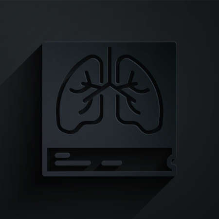 Paper cut Lungs x-ray diagnostics icon isolated on black background. Snapshot of the lungs. Paper art style. Vector Ilustração