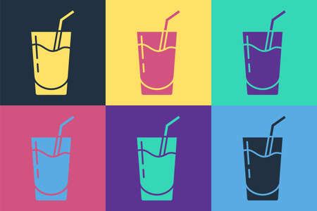 Pop art Cocktail and alcohol drink icon isolated on color background. Vector