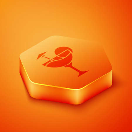 Isometric Cocktail and alcohol drink with umbrella icon isolated on orange background. Orange hexagon button. Vector