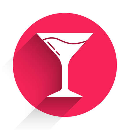 White Martini glass icon isolated with long shadow. Cocktail icon. Wine glass icon. Red circle button. Vector