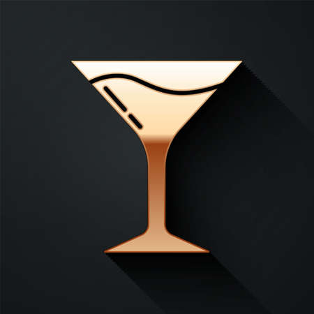 Gold Martini glass icon isolated on black background. Cocktail icon. Wine glass icon. Long shadow style. Vector