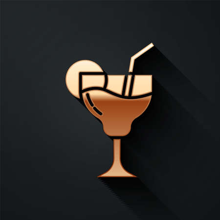 Gold Cocktail and alcohol drink icon isolated on black background. Long shadow style. Vector