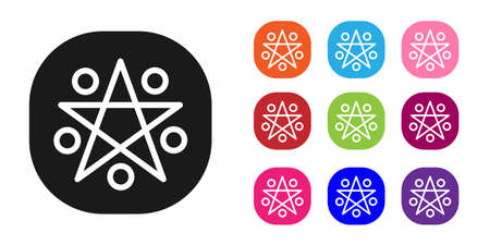 Black Pentagram in a circle icon isolated on white background. Magic occult star symbol. Set icons colorful. Vector