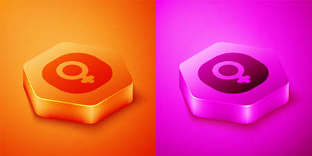 Isometric Venus symbol icon isolated on orange and pink background. Astrology, numerology, horoscope, astronomy. Hexagon button. Vector