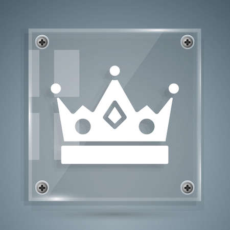 White King crown icon isolated on grey background. Square glass panels. Vector