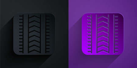 Paper cut Tire track icon isolated on black and purple background. Paper art style. Vector Illustration
