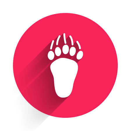 White Bear paw footprint icon isolated with long shadow. Red circle button. Vector