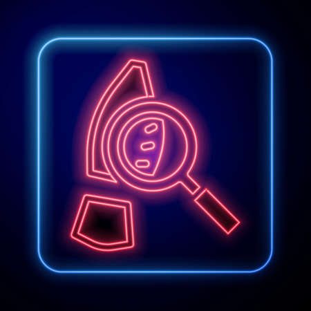 Glowing neon Magnifying glass with footsteps icon isolated on black background. Detective is investigating. To follow in the footsteps. Vector