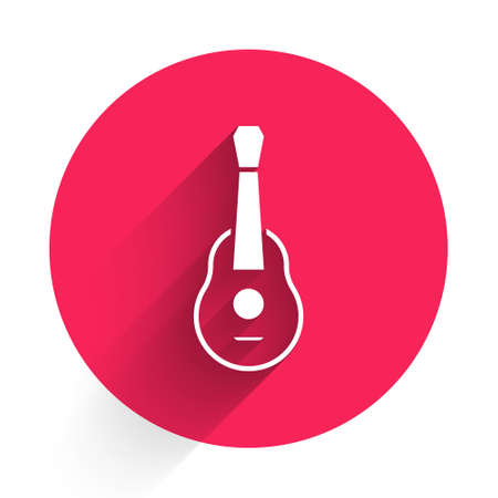 White Guitar icon isolated with long shadow. Acoustic guitar. String musical instrument. Red circle button. Vector