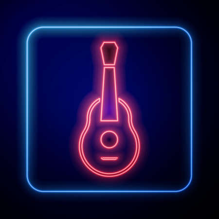 Glowing neon Guitar icon isolated on black background. Acoustic guitar. String musical instrument. Vector