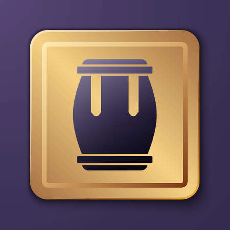 Purple Drum icon isolated on purple background. Music sign. Musical instrument symbol. Gold square button. Vector