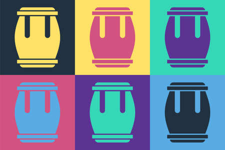 Pop art Drum icon isolated on color background. Music sign. Musical instrument symbol. Vector