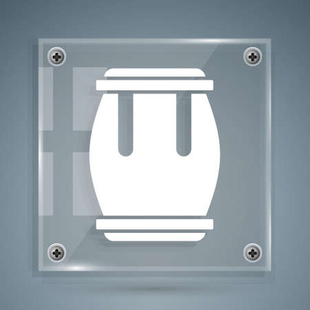 White Drum icon isolated on grey background. Music sign. Musical instrument symbol. Square glass panels. Vector