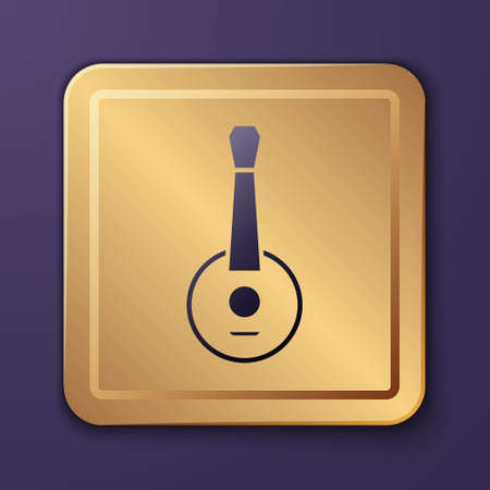 Purple Banjo icon isolated on purple background. Musical instrument. Gold square button. Vector