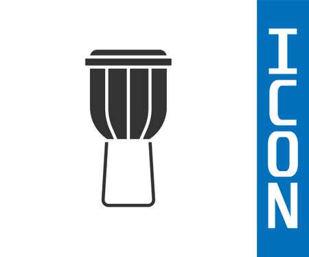 Grey Drum icon isolated on white background. Music sign. Musical instrument symbol. Vector Ilustração
