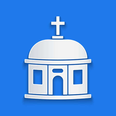 Paper cut Santorini building icon isolated on blue background. Traditional Greek white houses with blue roofs European culture. Paper art style. Vector