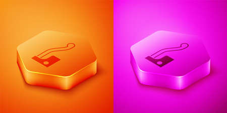 Isometric Bicycle brake icon isolated on orange and pink background. Hexagon button. Vector
