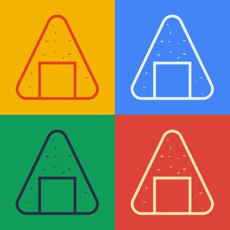 Pop art line Onigiri icon isolated on color background. Japanese food. Vector Illustration 向量圖像