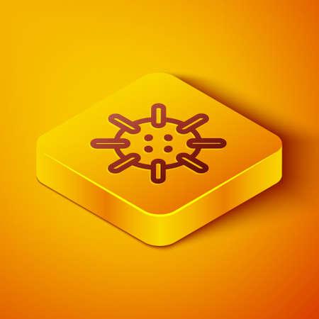 Isometric line Naval mine icon isolated on orange background. Sea bomb. Yellow square button. Vector Vector Illustratie