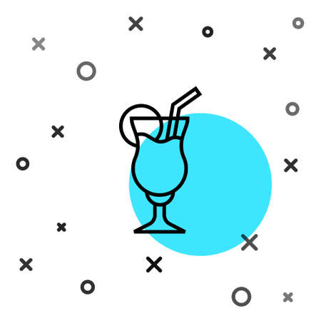 Black line Cocktail and alcohol drink icon isolated on white background. Random dynamic shapes. Vector