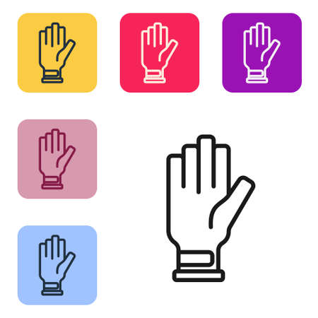 Black line Golf glove icon isolated on white background. Sport equipment. Sports uniform. Set icons in color square buttons. Vector