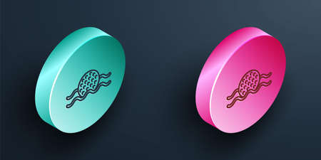 Isometric line Golf ball in water icon isolated on black background. Turquoise and pink circle button. Vector