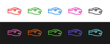 Set line Snake icon isolated on black and white background. Vector  イラスト・ベクター素材