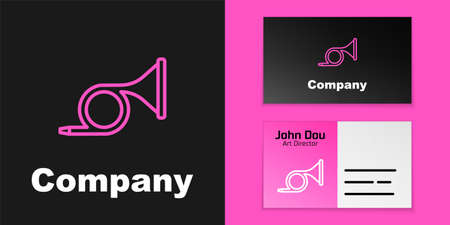 Pink line Musical instrument trumpet icon isolated on black background. Logo design template element. Vector