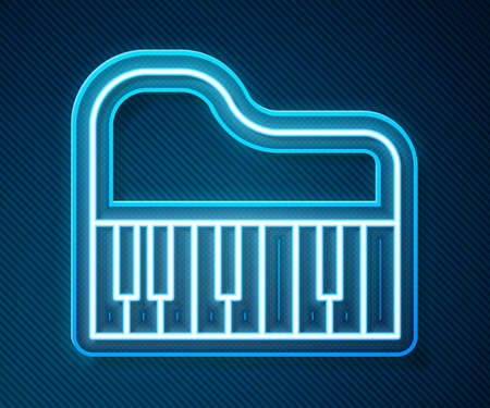 Glowing neon line Grand piano icon isolated on blue background. Musical instrument. Vector Ilustração