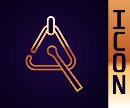 Gold line Triangle musical instrument icon isolated on black background. Vector Ilustração