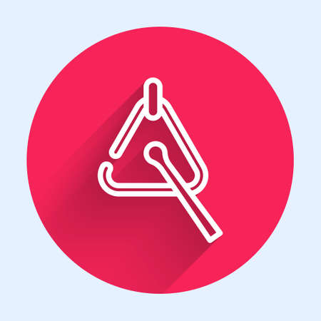 White line Triangle musical instrument icon isolated with long shadow. Red circle button. Vector