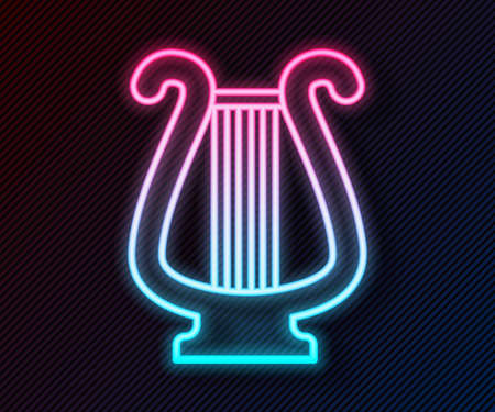 Glowing neon line Ancient Greek lyre icon isolated on black background. Classical music instrument, orhestra string acoustic element. Vector