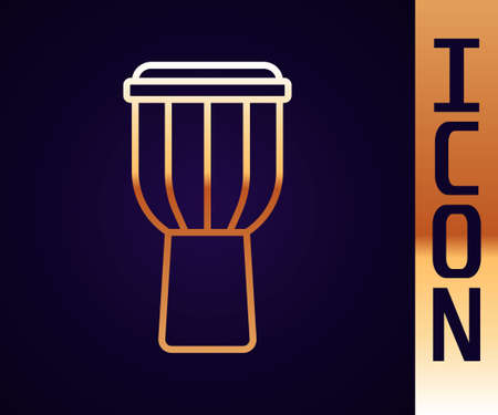 Gold line Drum icon isolated on black background. Music sign. Musical instrument symbol. Vector