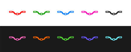 Set line Bicycle handlebar icon isolated on black and white background. Vector