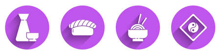Set Chinese tea ceremony, Sushi, Asian noodles in bowl and Yin Yang icon with long shadow. Vector 向量圖像