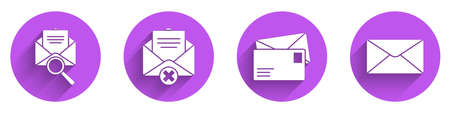 Set Envelope with magnifying glass, Delete envelope, Envelope and Envelope icon with long shadow. Vector