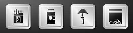 Set Open cigarettes pack box, Medicine bottle and pills, Psilocybin mushroom and Plastic bag of drug icon. Silver square button. Vector Ilustracja