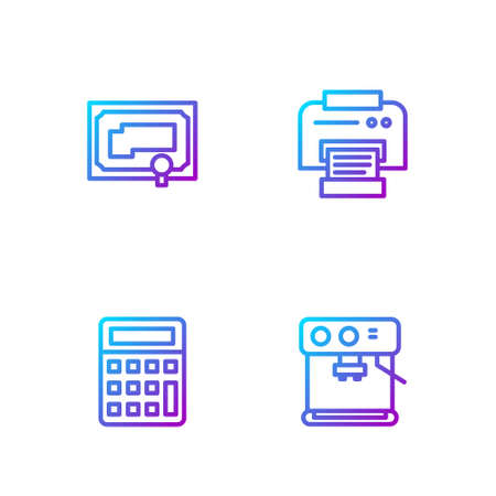 Set line Coffee machine, Calculator, Certificate template and Printer. Gradient color icons. Vector