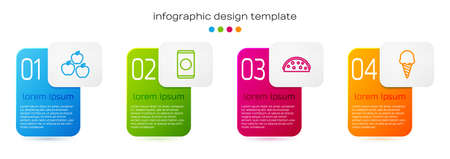 Set line Apple, Soda can with straw, Taco tortilla and Ice cream in waffle cone. Business infographic template. Vector Векторная Иллюстрация