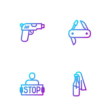 Set line Cocktail molotov, Stop war, Pistol or gun and pocket knife. Gradient color icons. Vector